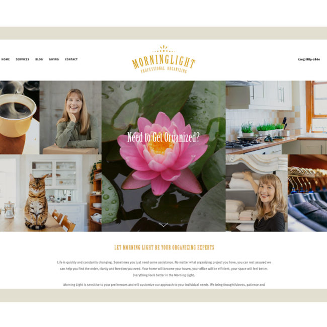 Morning Light Professional Organizing website